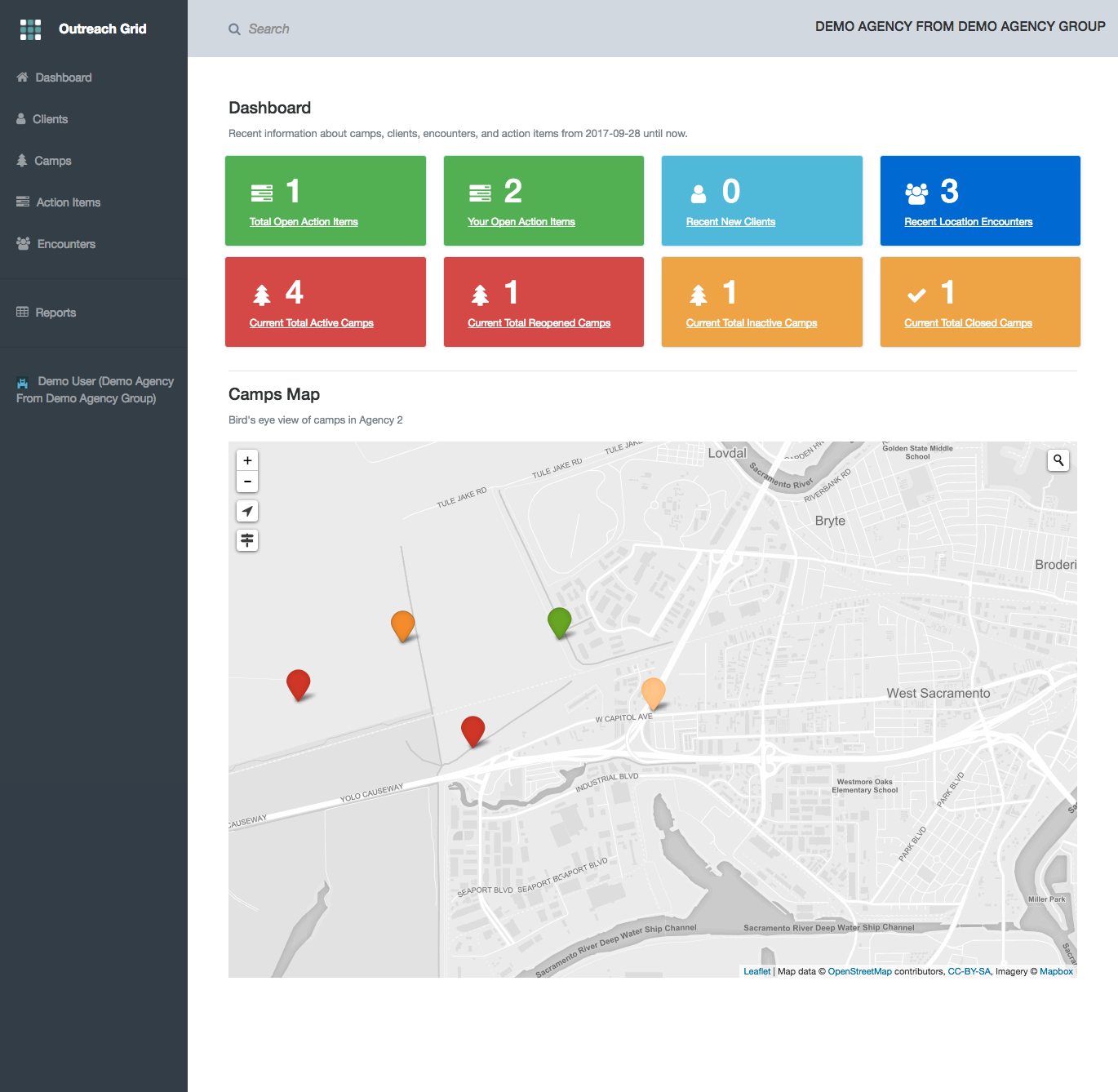 Outreach grid dashboard screenshot